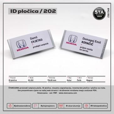 ID pločica 202 čelik (dimenzija 70x30 mm, pričvršćenje magnetom)
