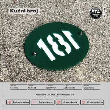 Kućni broj (225x170, zeleno-bijela)