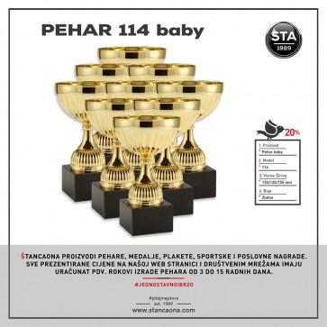 Pehar 114 zlatni (visina 155 mm, promjer 80 mm, #65x65x30 mm)