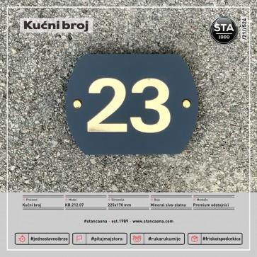 Kućni broj (225x170, mineral siva-zlatna)
