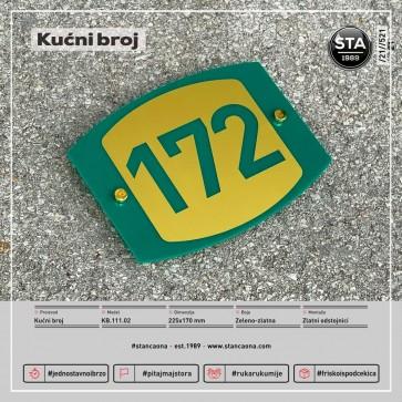 Kućni broj (225x170, zeleno-zlatni)