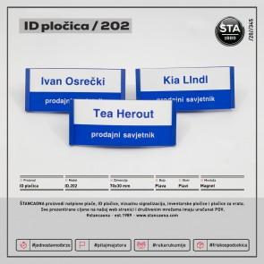 ID pločica 202 plava (dimenzija 70x30 mm, pričvršćenje magnetom)