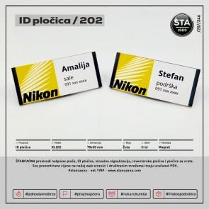 ID pločica 202 crna (dimenzija 70x30 mm, pričvršćenje magnetom)