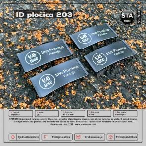 ID pločica model 203 crna (dimenzija 80x34 mm, pričvršćenje magnetom)