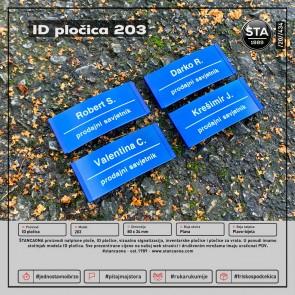 ID pločica model 203 plava (dimenzija 80x34 mm, pričvršćenje magnetom)