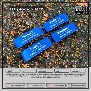 ID pločica 201 plava (dimenzija 68x22 mm, pričvršćenje magnetom)