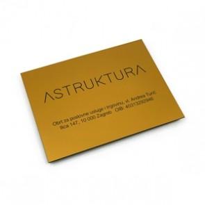 Natpisna ploča (200x150x1.6 mm, matirano zlato/crna)
