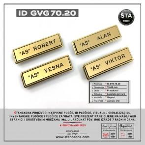 ID pločica model 702 zlatna (dimenzija 70x20 mm, pričvršćenje magnetom)