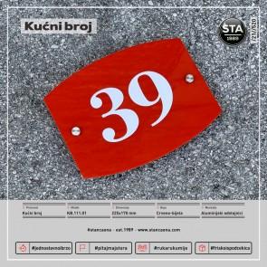 Kućni broj (225x170, crveno-bijeli)