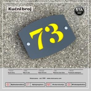Kućni broj (225x170, mineral siva-žuta)