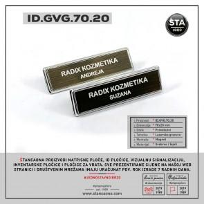 ID pločica model 702 srebrna (dimenzija 70x20 mm, pričvršćenje magnetom)